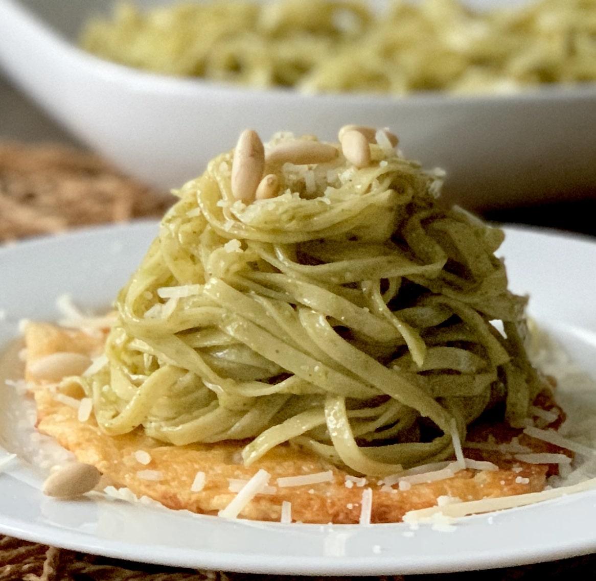 Basil Pesto Linguine w/ Parmesan Fricos