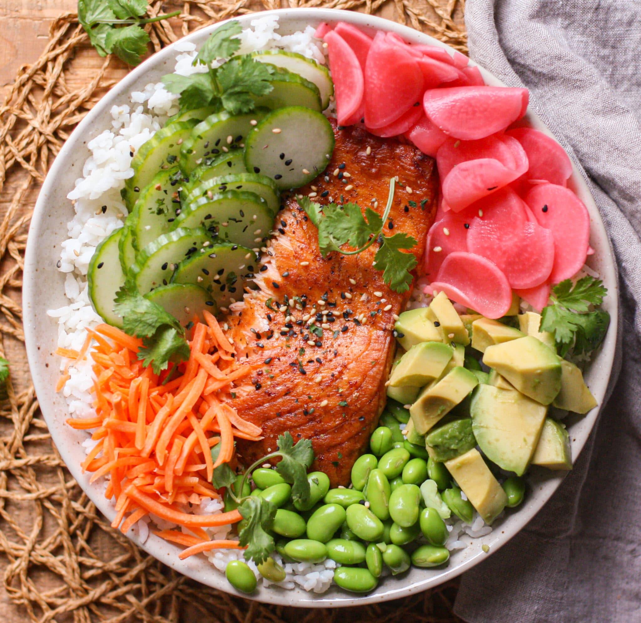 Salmon Poke Bowl with Citrus Ponzu Sauce