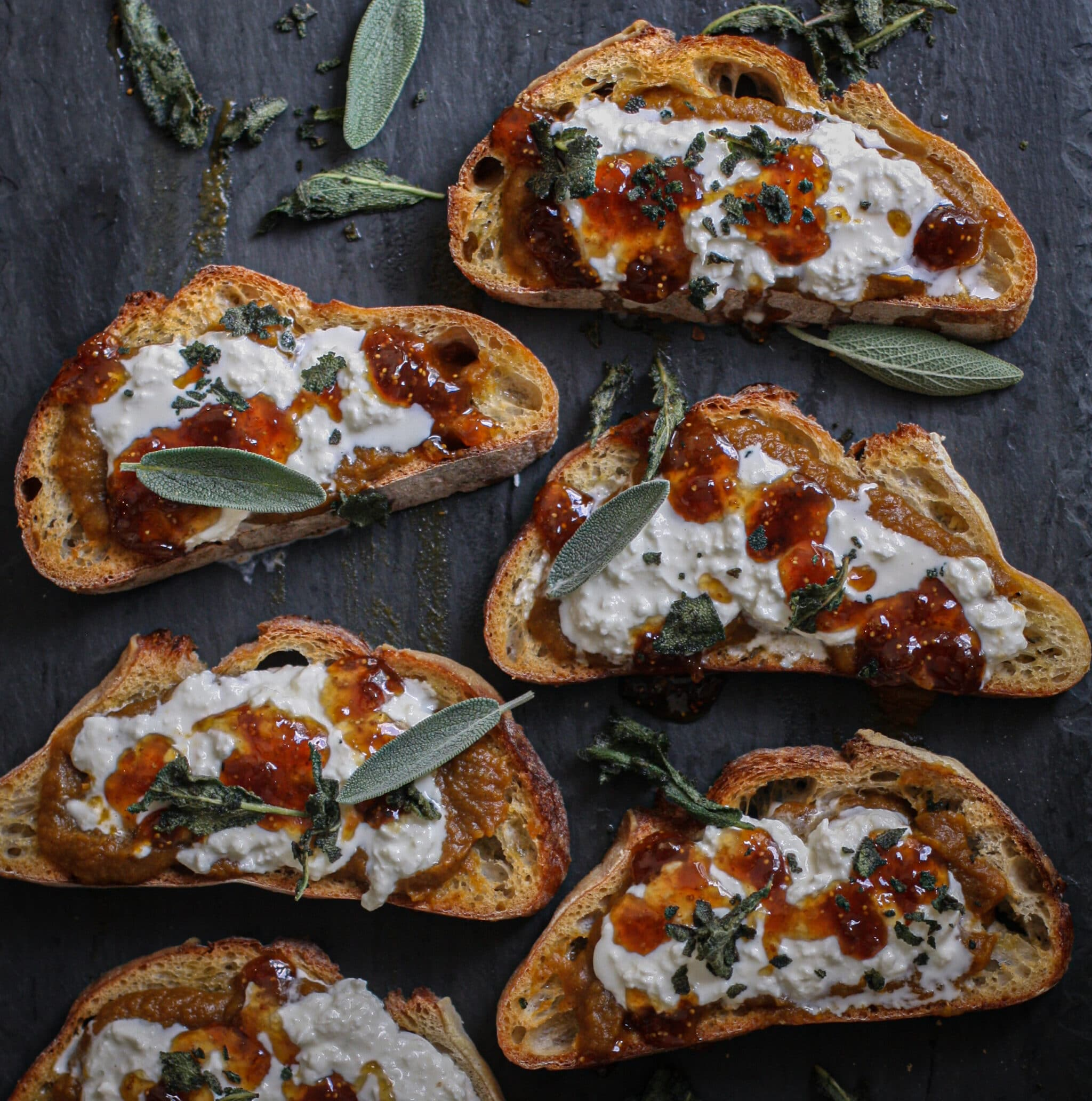 Pumpkin Burrata Toasts w/ Fig & Crispy Sage