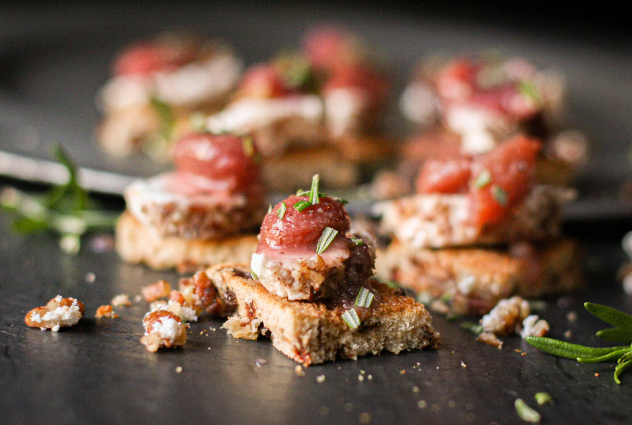 Pecan-Crusted Goat Cheese Toasts w/ Red Grape Compote