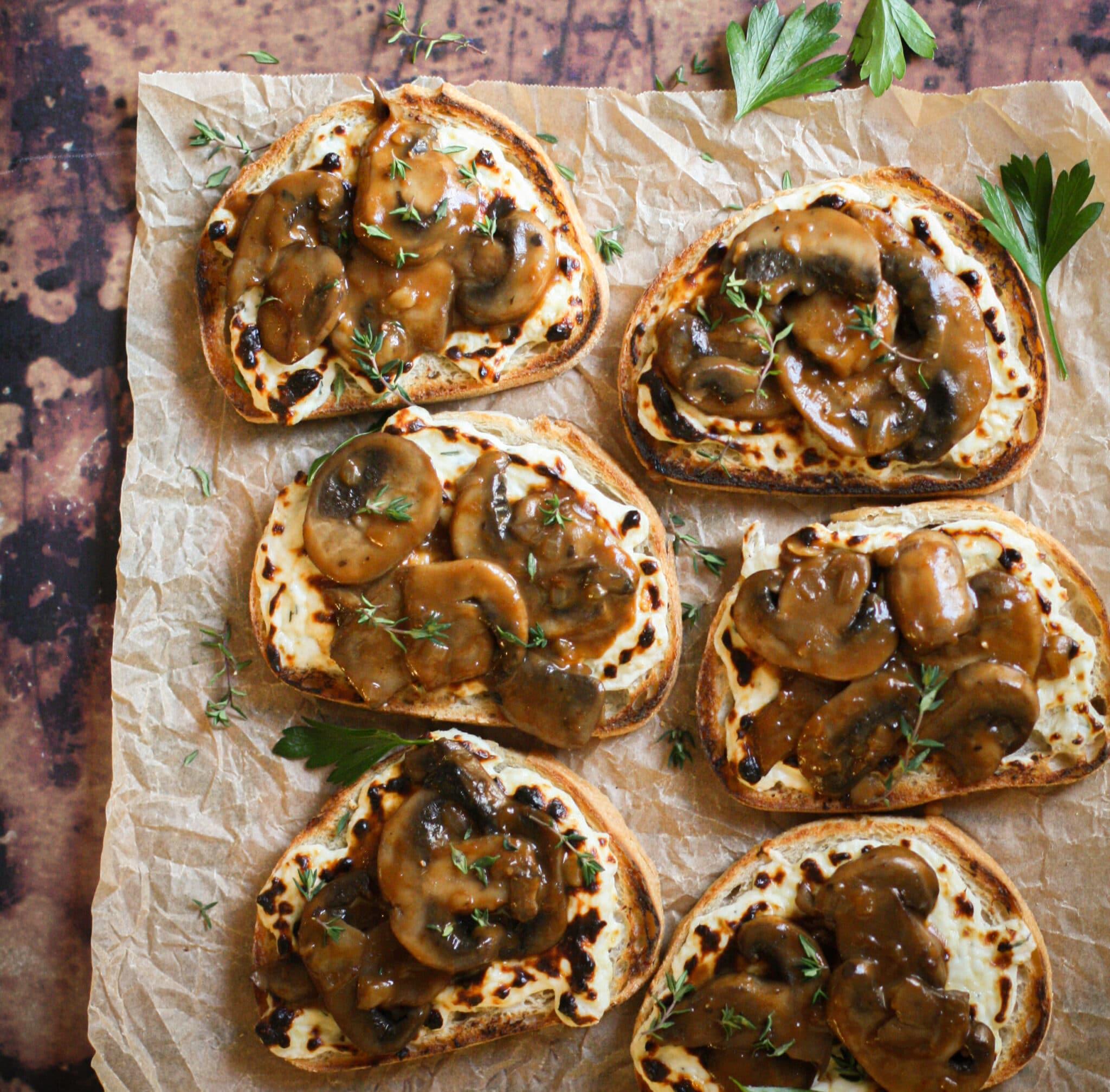Mushroom Gruyere Toasts