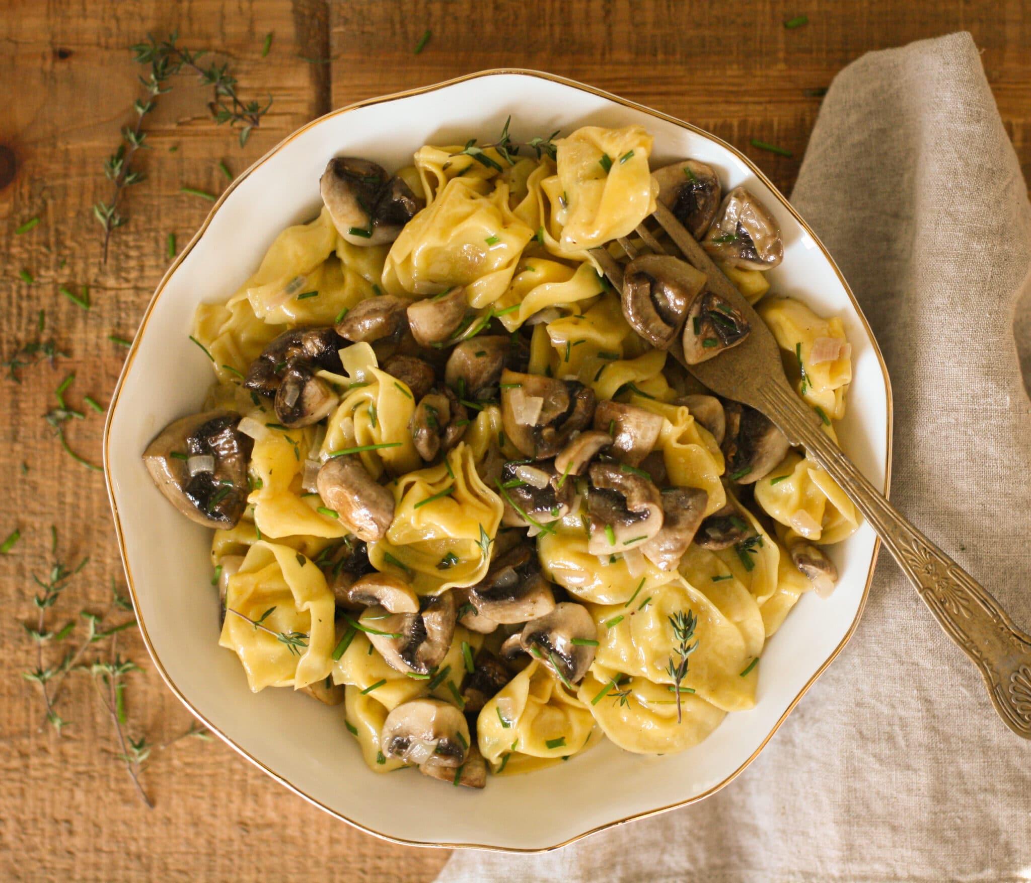 Herby Tortellini w/ Roasted Mushrooms