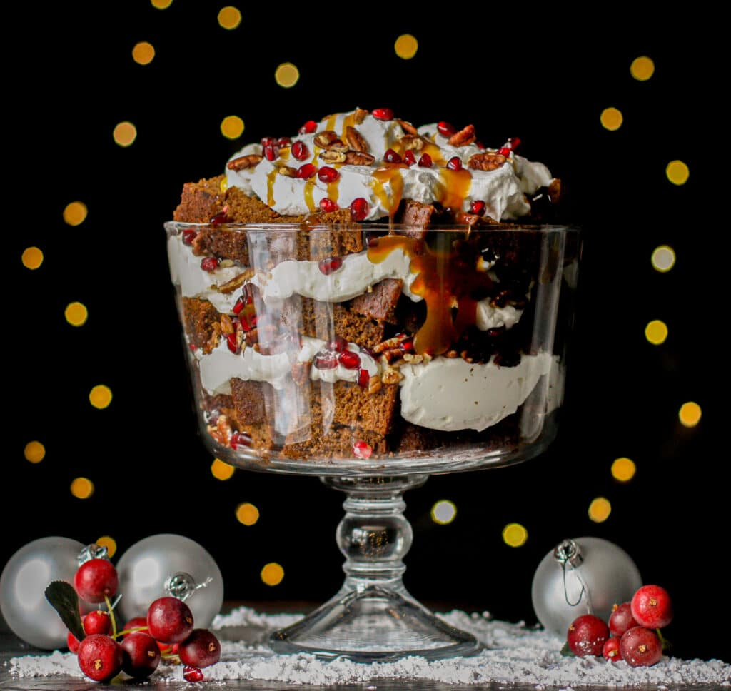 Caramel Gingerbread Trifle with Bourbon Cream