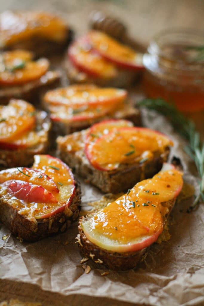 Apple & Cheddar Crostini w/ Rosemary Honey,
