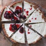 Goat Cheese Cheesecake w/ Dark Cherry Syrup