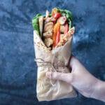 "Chicken Souvlaki Sandwich with Halloumi ""Fries"""