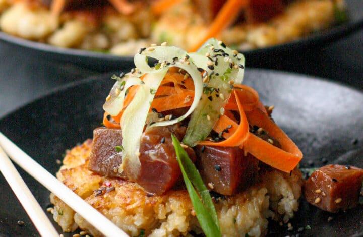 Miso Rice Cakes w/ Tuna Ponzu