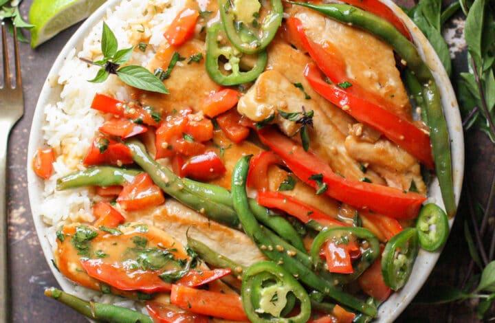 Thai Basil Chicken & Coconut Rice