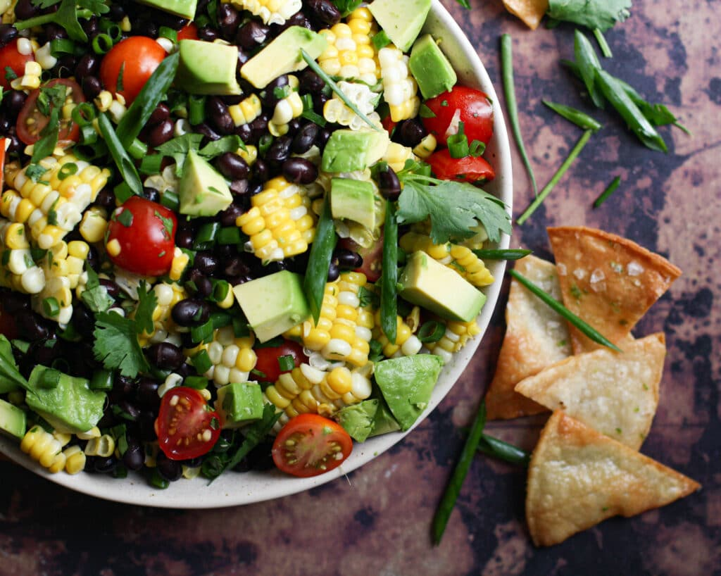 Black Bean & Corn Salad w/ Homemade Tortilla Chips