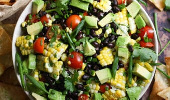 Easy Black Bean & Corn Salad w/ Homemade Tortilla Chips