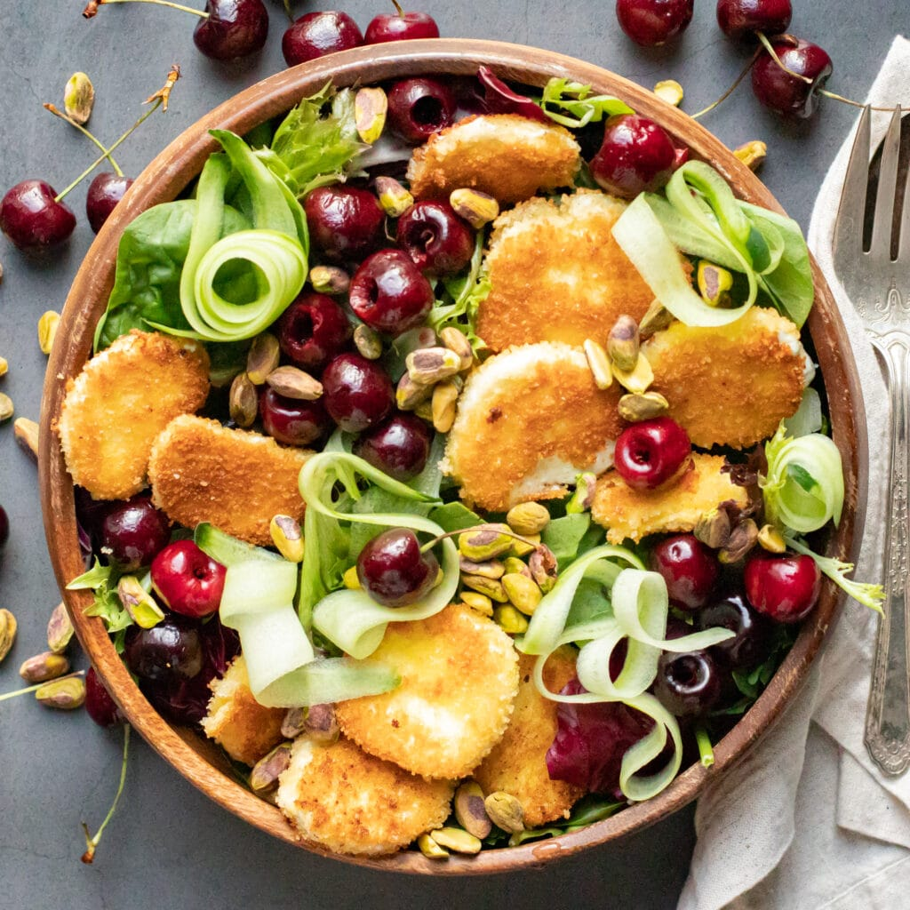 Fried Goat Cheese & Cherry Salad with Roasted Shallot Vinaigrette